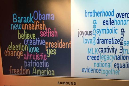 "Mrs. Leggett's class compared and contrasted the language used in MLK's ""I have a Dream,"" speech with the language used in Obama's farewell address, then used Chromebooks to create visual word clouds to aid in the analysis!"