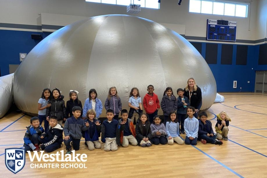 Our 1st grade Explorers had the opportunity to explore the solar system in our own gym, thanks to the In House field lesson with the Sky Dome! #WestlakeCharter