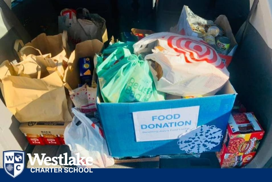 Thank you Westlake Charter Families! In collaboration with our WAVE team we were able to donate a van full of food to Joey's Food Locker, a local food bank that serves our area. Joey's Food Locker served 32,099 people in the Natomas area in 2020! Thank you for your generous donations!